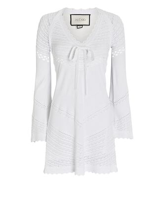 Thara Pointelle Knit Mini Dress, WHITE, hi-res