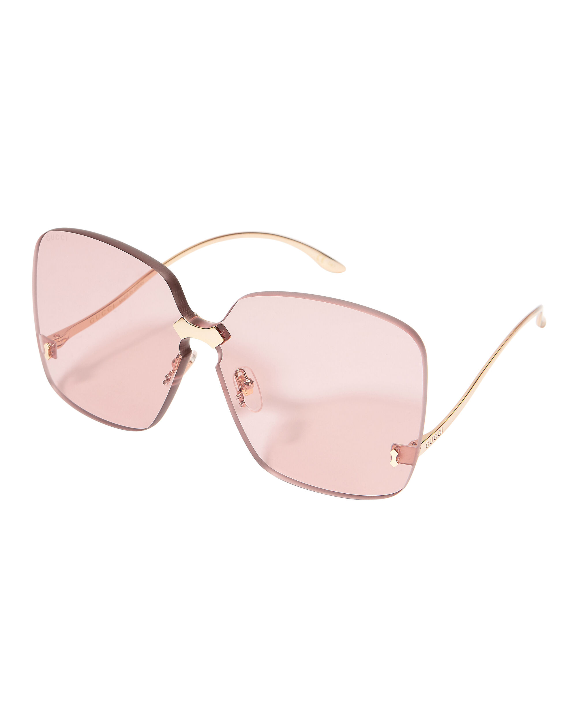 Square Rimless Pink Sunglasses, GOLD, hi-res