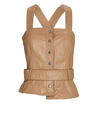 Marty Sleeveless Leather Top, BEIGE, hi-res
