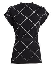 Belted Knit Windowpane Top, BLACK/WHITE, hi-res