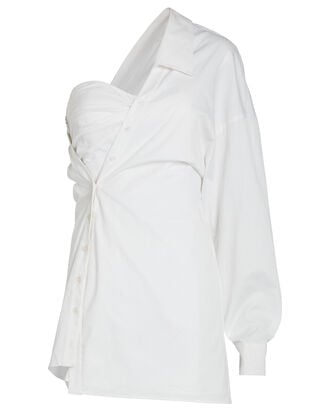 Lana Asymmetric Corset Shirt Dress, WHITE, hi-res