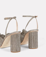Camellia Pleated Bow Front Sandals, GOLD, hi-res