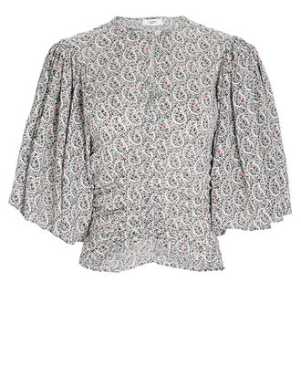 Mariazo Floral Cotton Blouse, IVORY, hi-res
