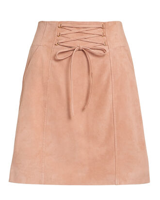 Talia Lace-Up Mini Skirt, BLUSH, hi-res