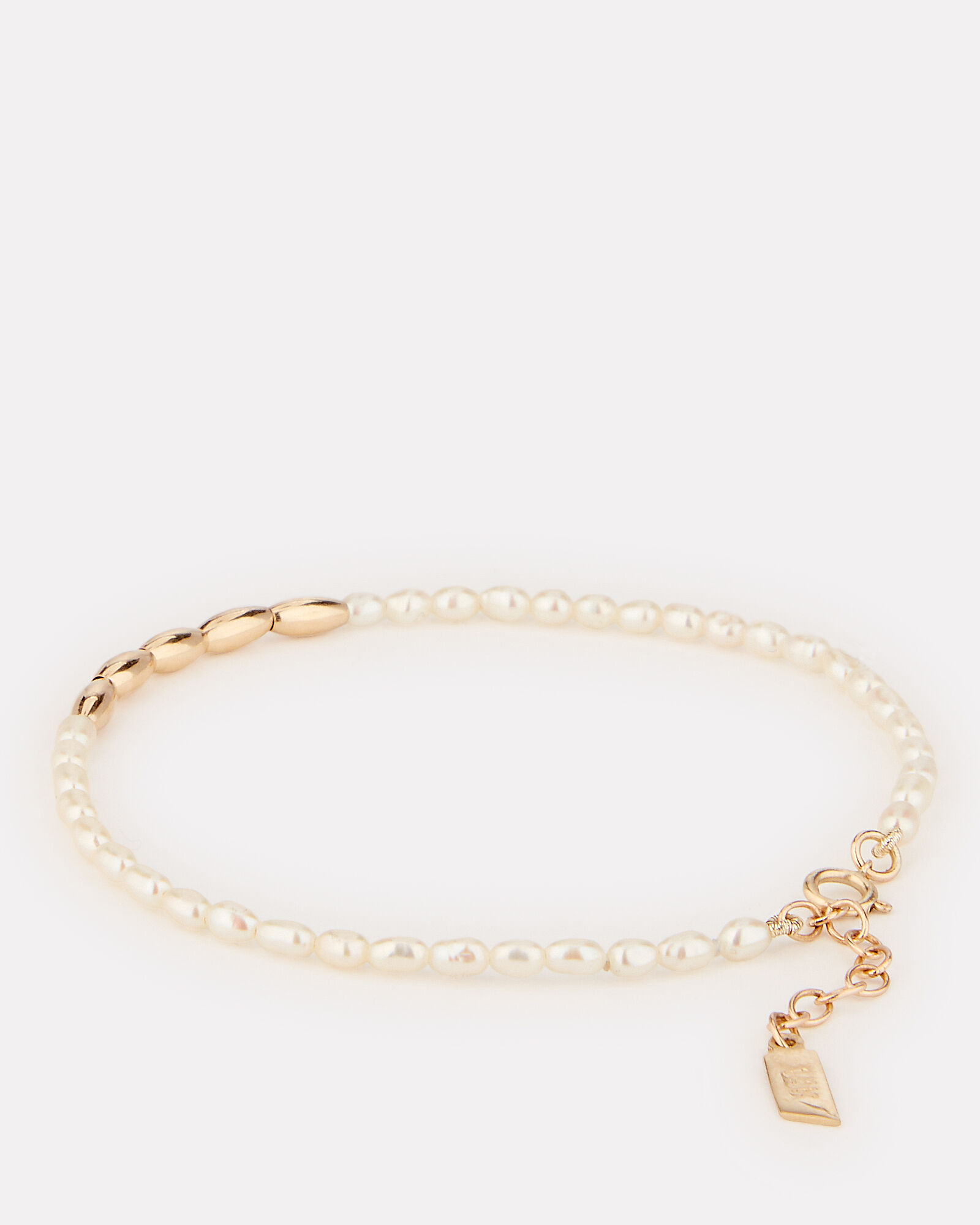 Rice Pearl Beaded Bracelet, GOLD, hi-res