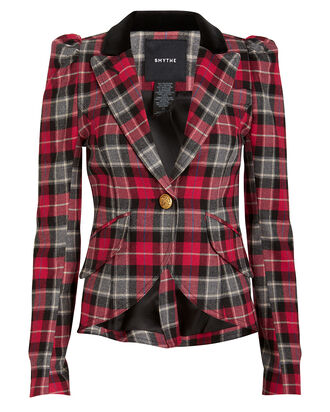 Puffed Shoulder Velvet Collar Blazer, RED/PLAID, hi-res