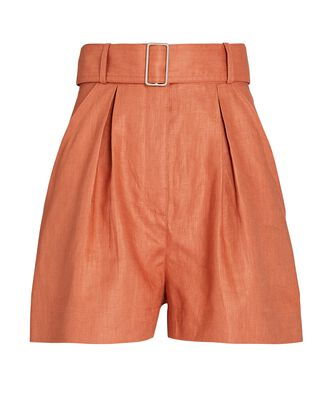 Pleated Linen High-Rise Shorts, ORANGE, hi-res