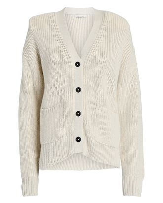 Chunky Knit Padded Shoulder Cardigan, IVORY, hi-res