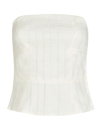 Tiff Strapless Linen Top, IVORY, hi-res