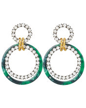 Scarlet Malachite Earrings, GREEN/CRYSTAL, hi-res