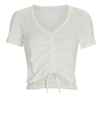 Aida Lace-Trimmed Ruched T-Shirt, WHITE, hi-res
