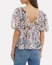 Egret Pleated Georgette Top, IVORY/FLORAL, hi-res