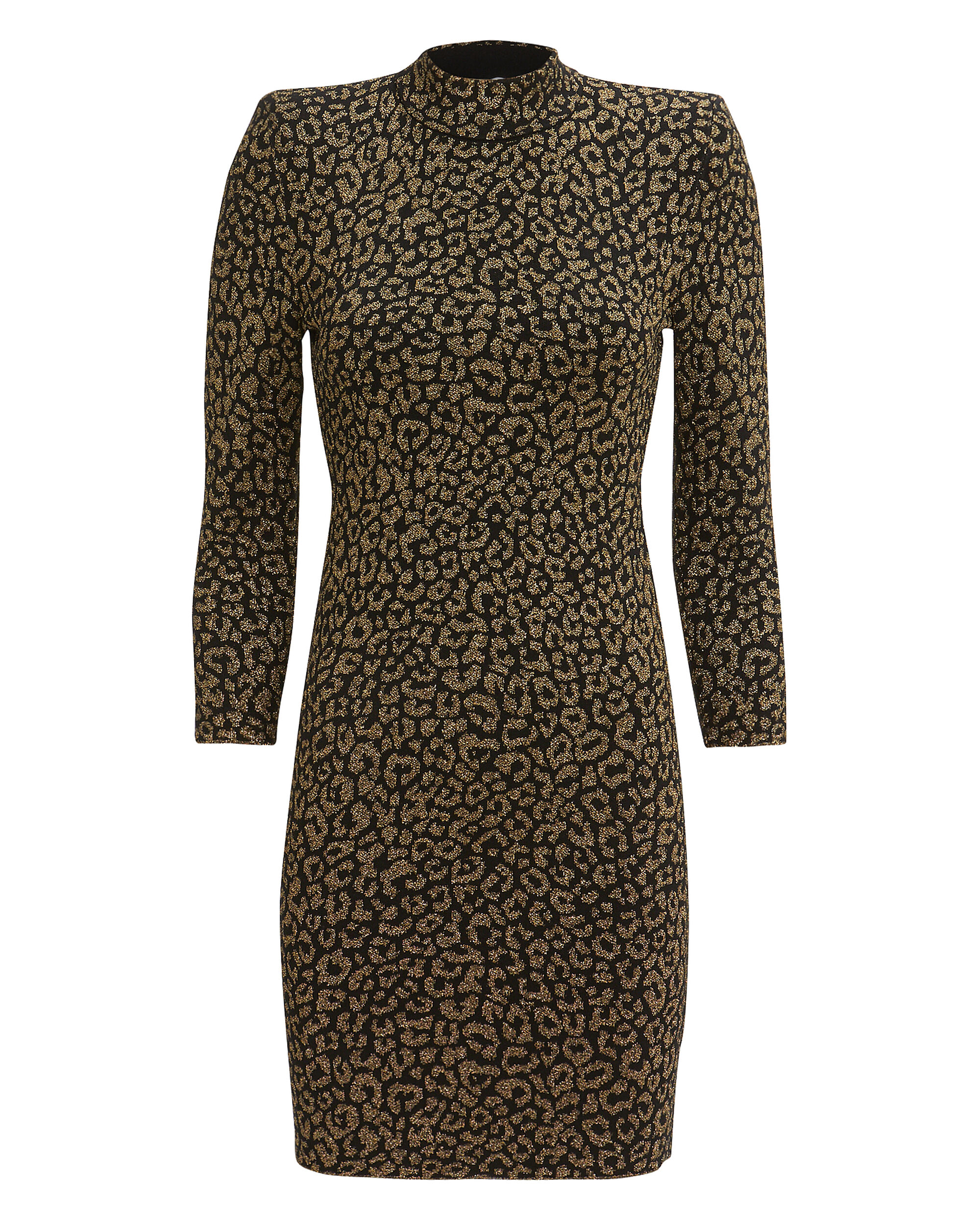 Mahry Leopard Mini Dress, BLACK, hi-res