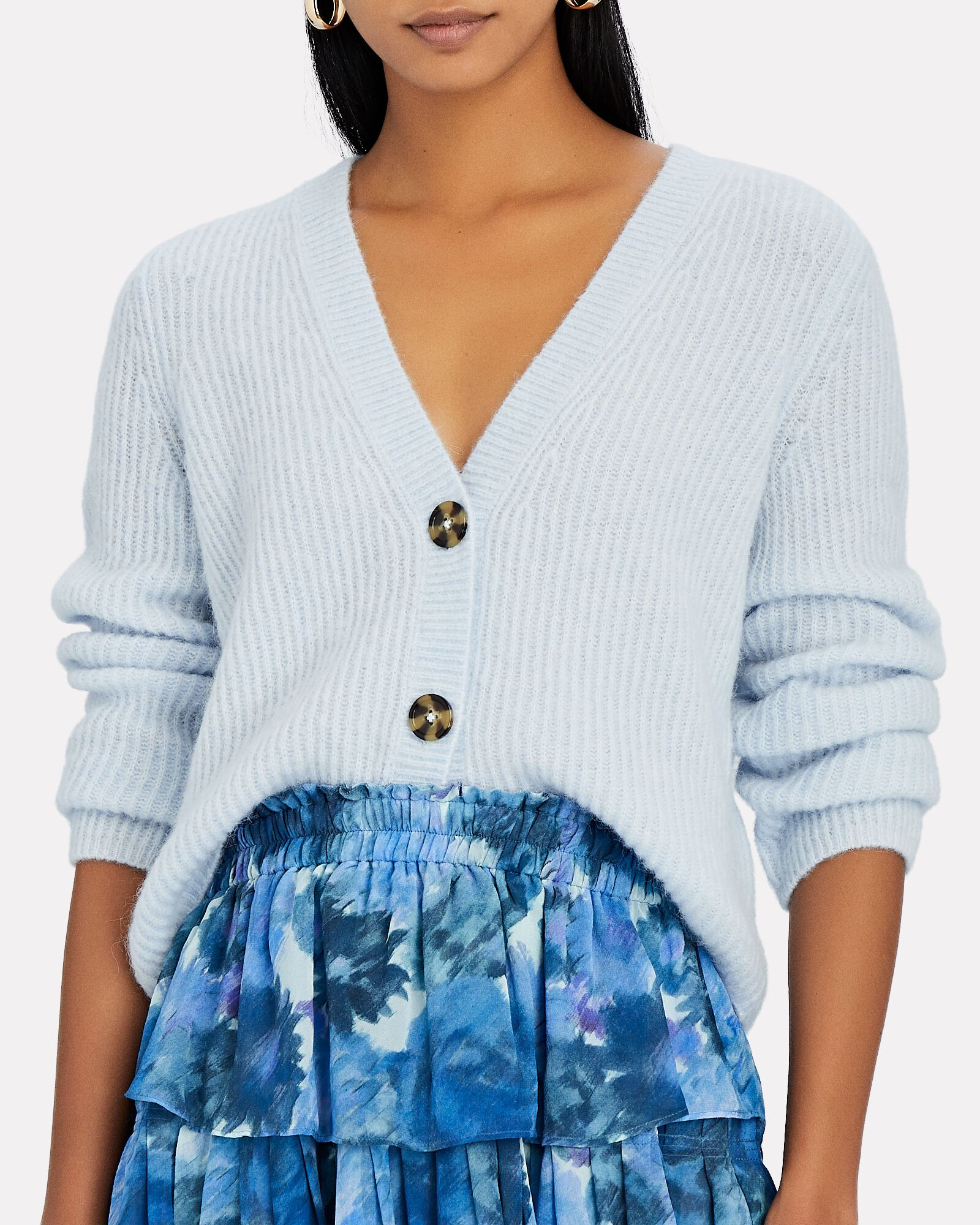 Priscilla Cropped V-Neck Cardigan, BLUE-LT, hi-res