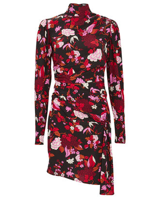 Marcel Draped Floral Mini Dress, BLACK/PINK, hi-res