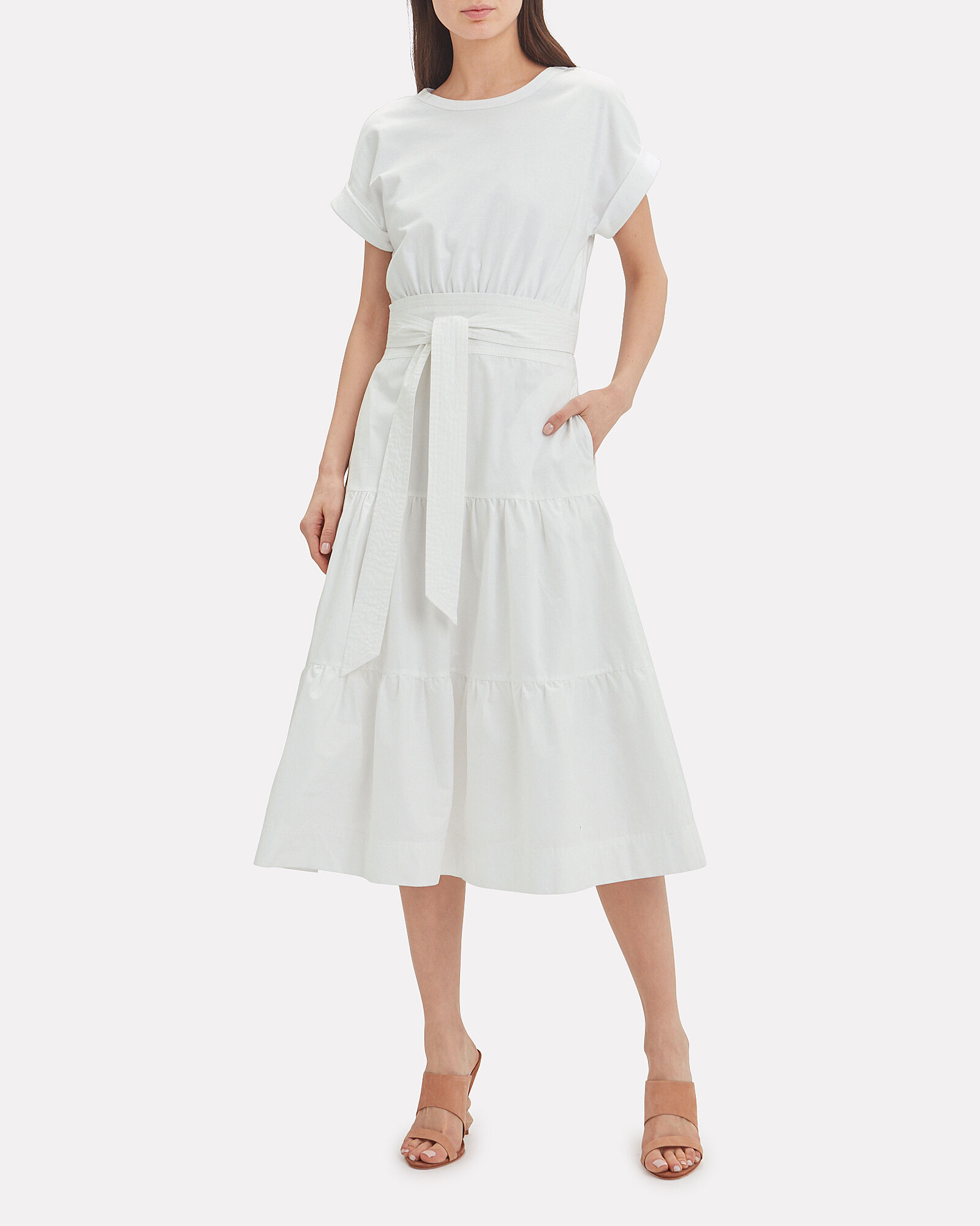 Trail Belted Cotton Midi Dress, WHITE, hi-res