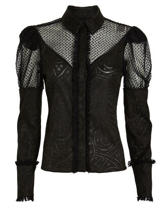 Virginia Button Down Jacquard Blouse, BLACK, hi-res