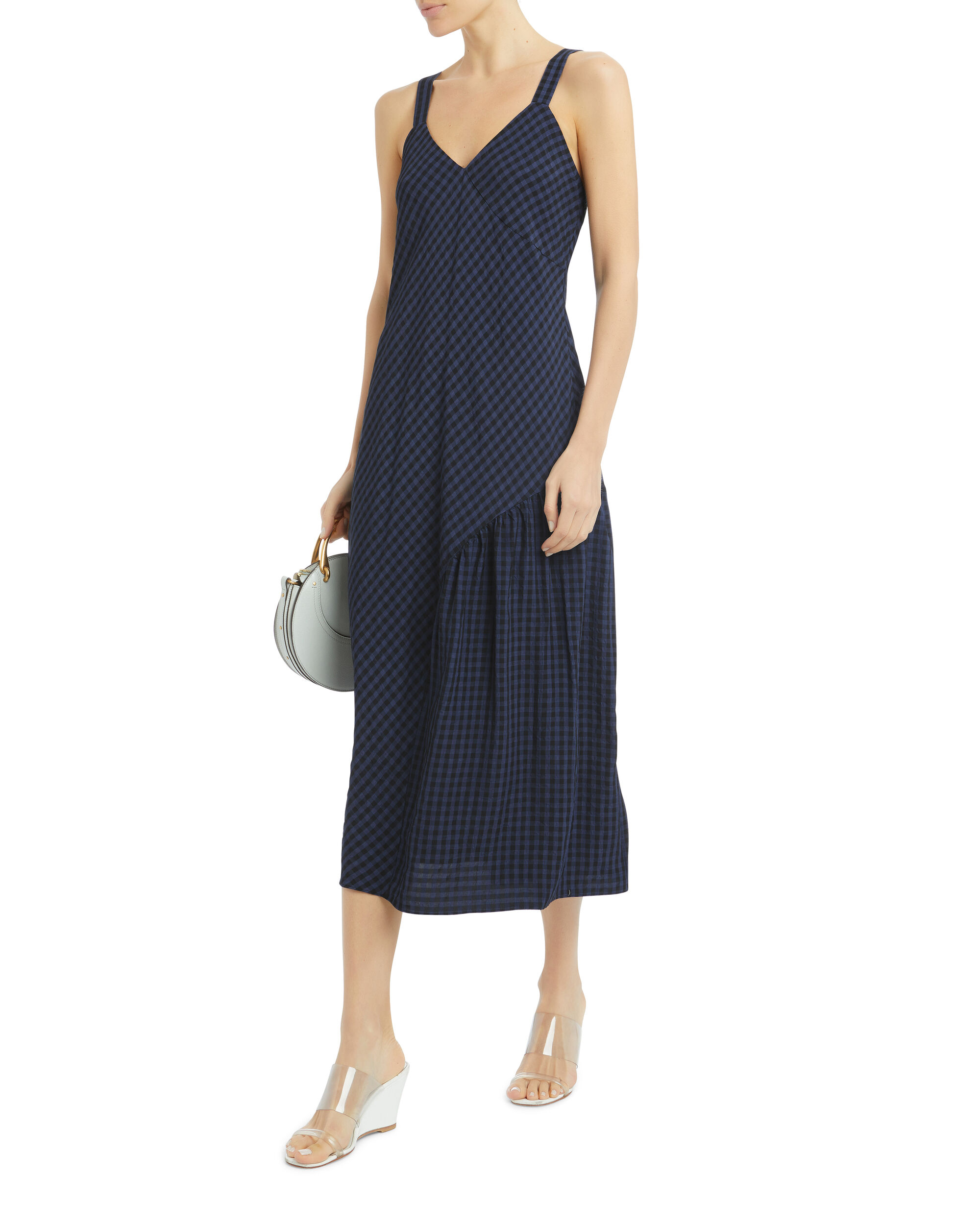 Gingham Slip Dress, NAVY, hi-res