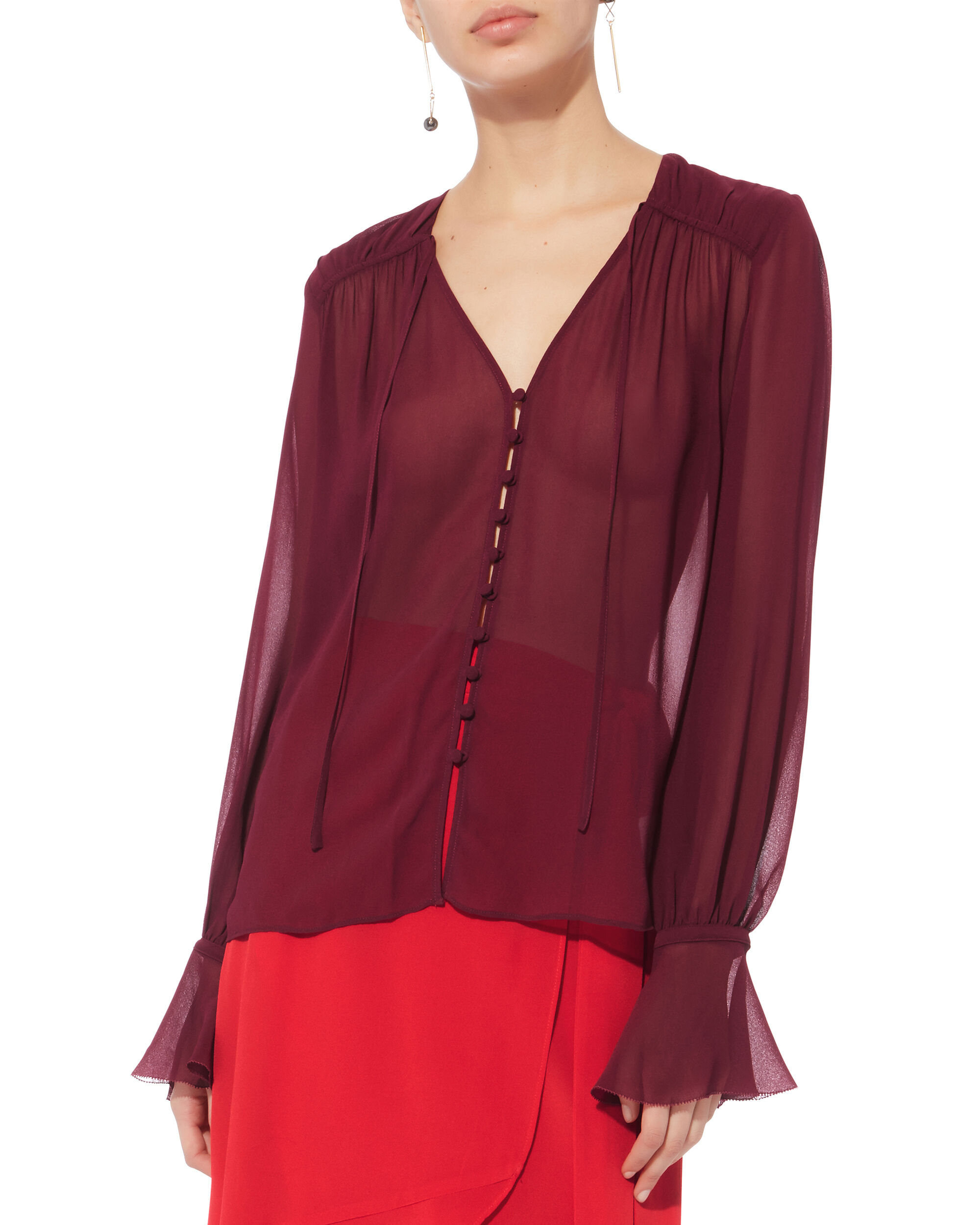 Georgette Blouse, RED, hi-res