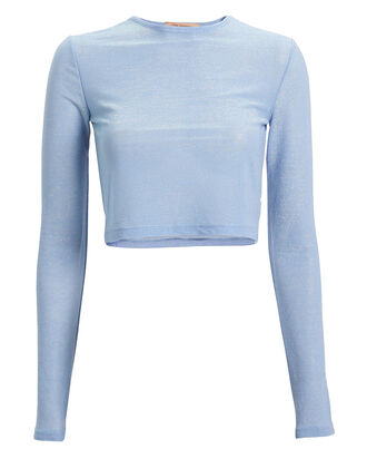 Knit Lurex Crop Top, LIGHT BLUE, hi-res
