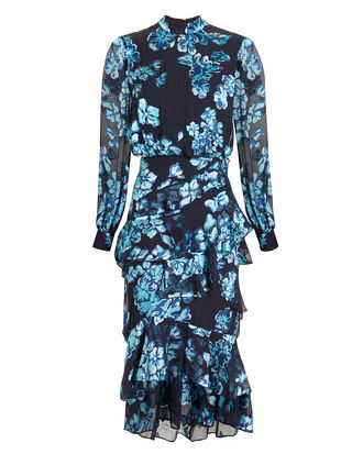 Isla Ruffle Midi Dress, NAVY/BLUE FLORAL, hi-res