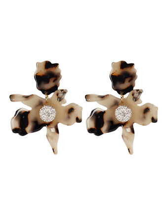 Crystal Lily Earrings, BEIGE/BLACK, hi-res