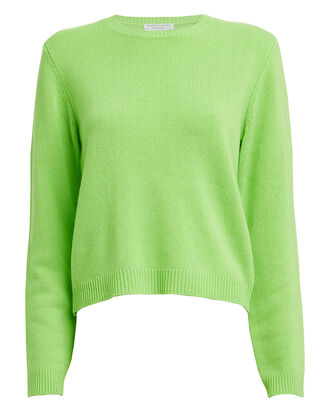 Wool & Cashmere-Blend Crewneck Sweater, NEON GREEN, hi-res