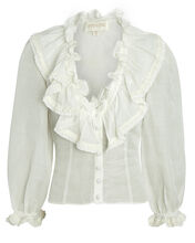 Ruched Ruffle Blouse, WHITE, hi-res