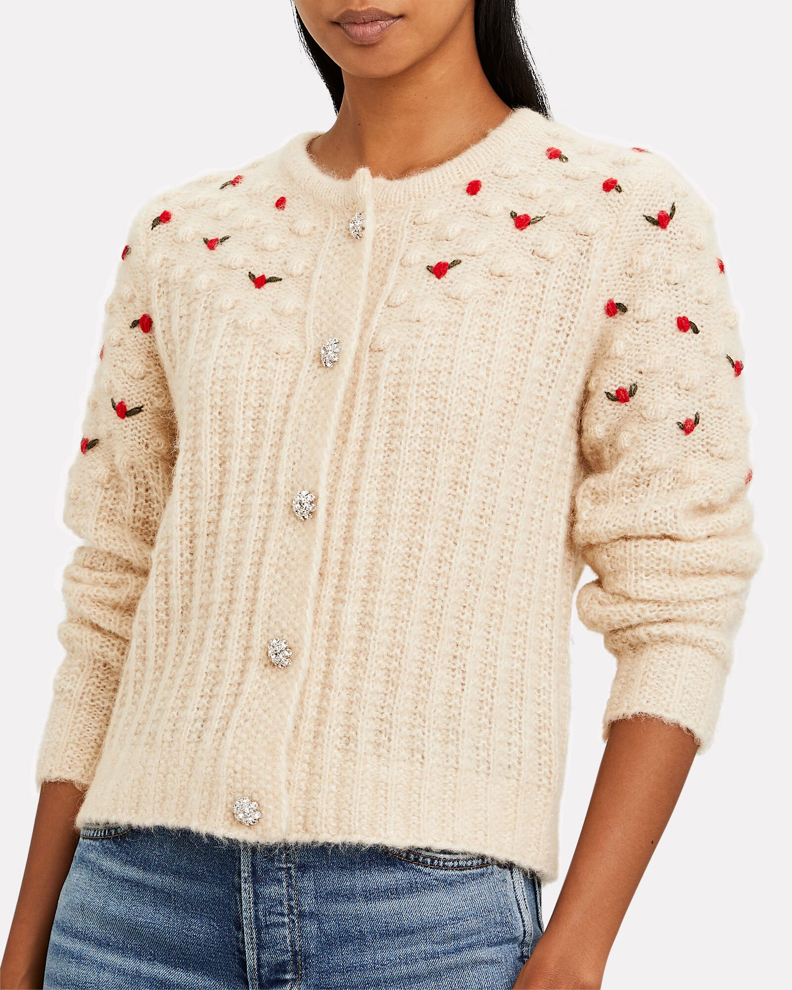 Rollo Embroidered Crewneck Cardigan, IVORY, hi-res