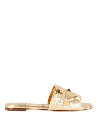 Quilted Rockstud Slide Sandals, GOLD, hi-res