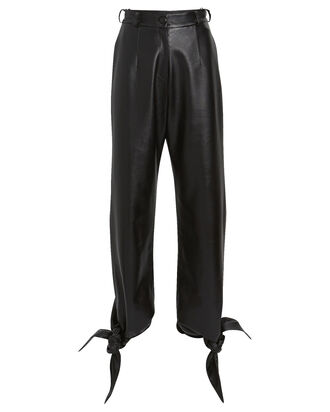 Vegan Leather Tie Ankle Pants, BLACK, hi-res
