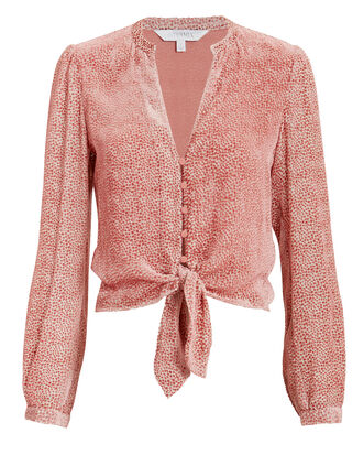 Candice Burnout Velvet Top, BLUSH, hi-res