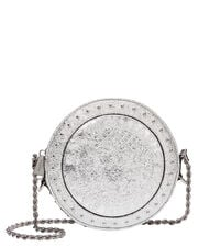 Disco Studded Circle Crossbody Bag, SILVER, hi-res
