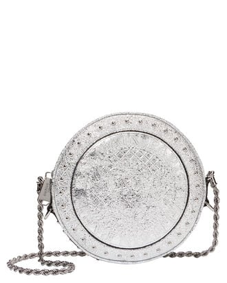 Disco Studded Silver Circle Crossbody Bag, SILVER, hi-res