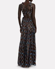 Lirra Printed Sleeveless Silk Gown, MULTI, hi-res