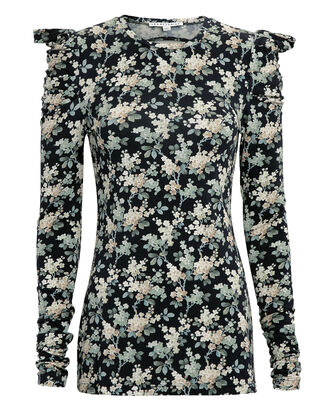 Liberty Josephine Top, BLACK/BLUE FLORAL, hi-res