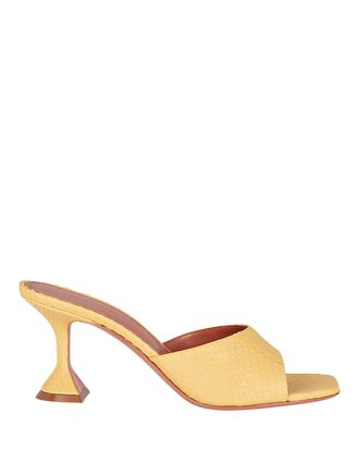 Lupita Embossed Leather Sandals, YELLOW, hi-res