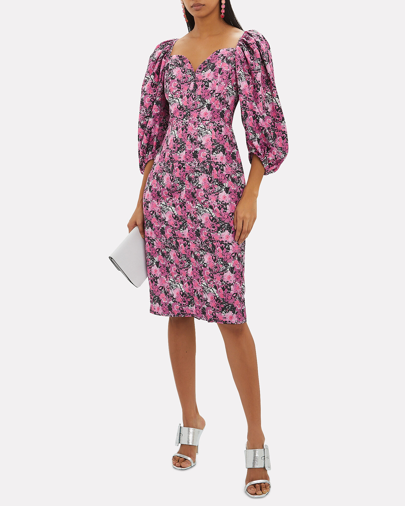 Irina Puff Sleeve Floral Dress, MAUVE/FLORAL, hi-res