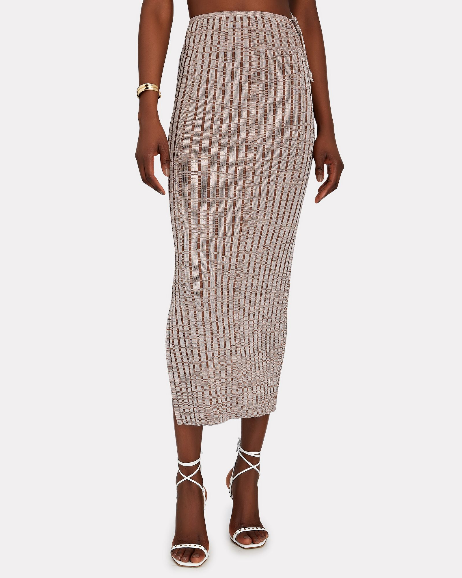 Emerald Space Dyed Knit Midi Skirt, BEIGE, hi-res