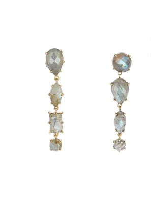 Mismatched Labradorite Drop Earrings, GREY, hi-res