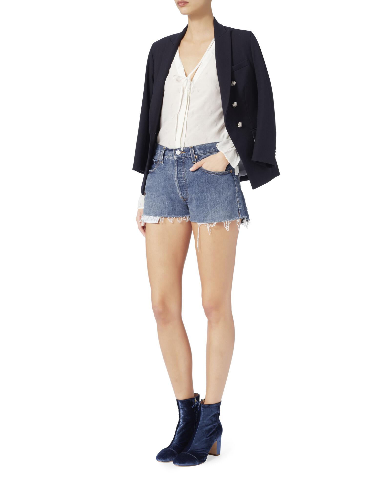 Denim Cut-Off Shorts, BLUE DENIM, hi-res