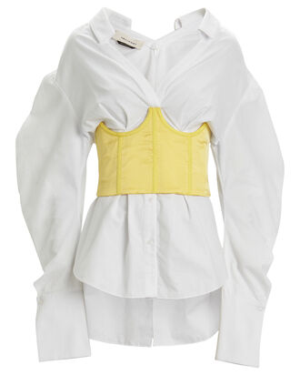 Gemma Corseted Poplin Shirt, WHITE/YELLOW, hi-res