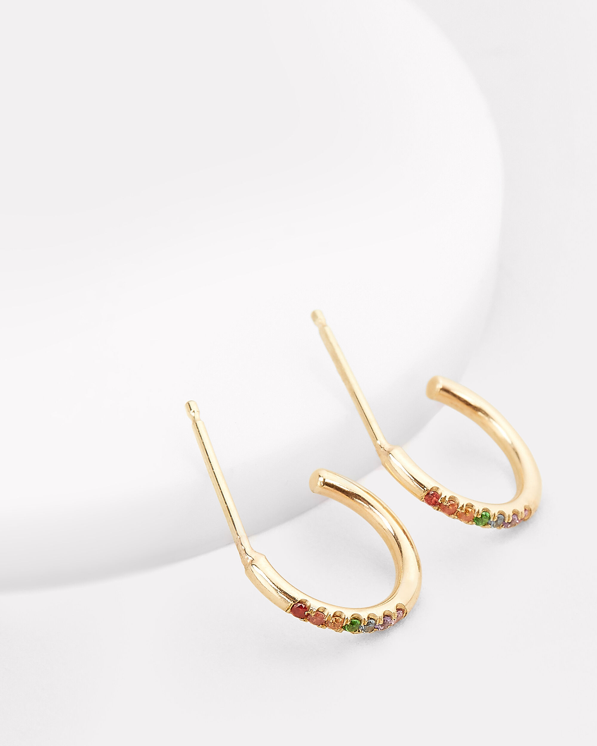 Rainbow Sapphires Thick Huggie Hoops, GOLD, hi-res