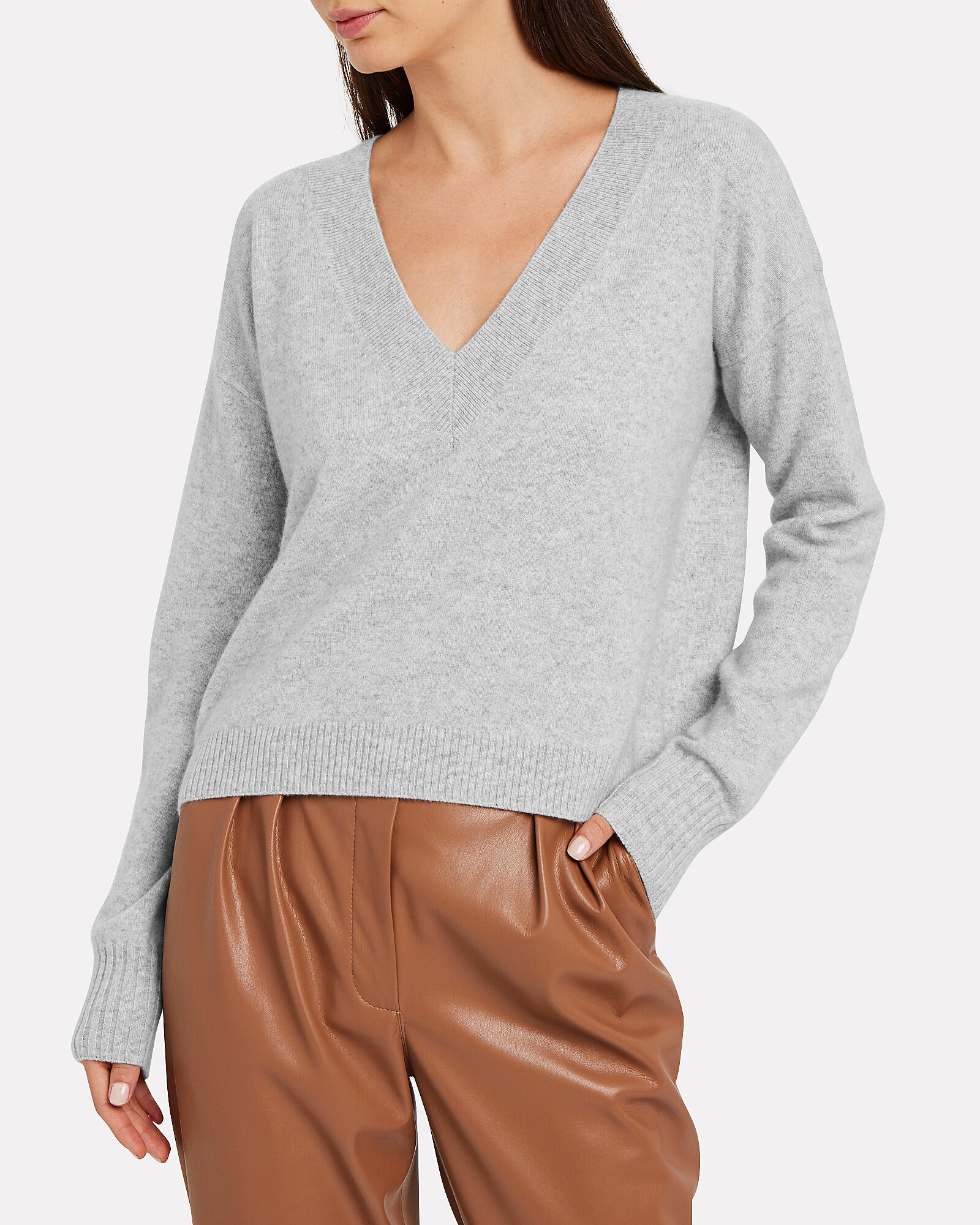 Elroy V-Neck Cashmere Sweater, LIGHT GREY, hi-res