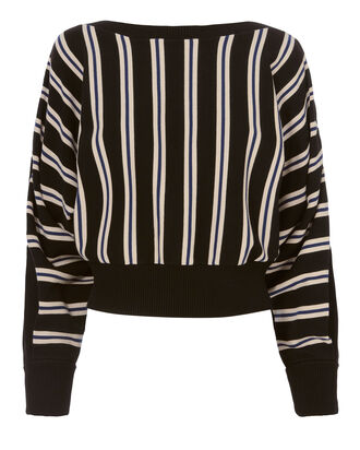 Striped Boat Neck Pullover, BLACK, hi-res