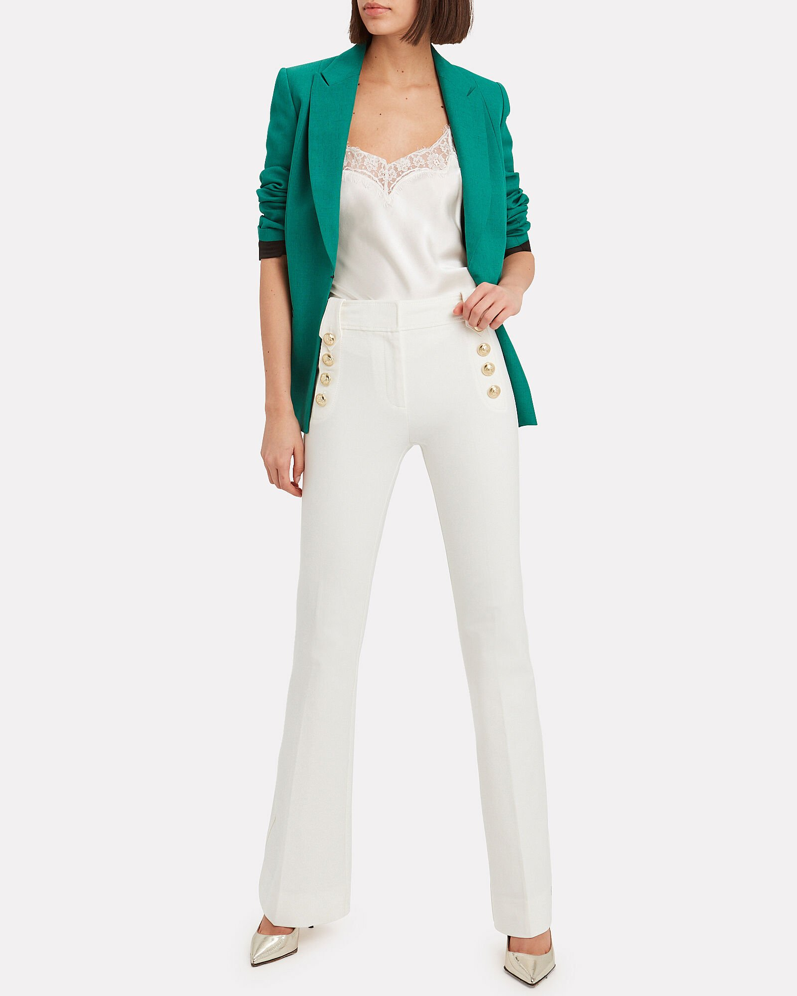 Robertson Flared Sailor Trousers, WHITE, hi-res