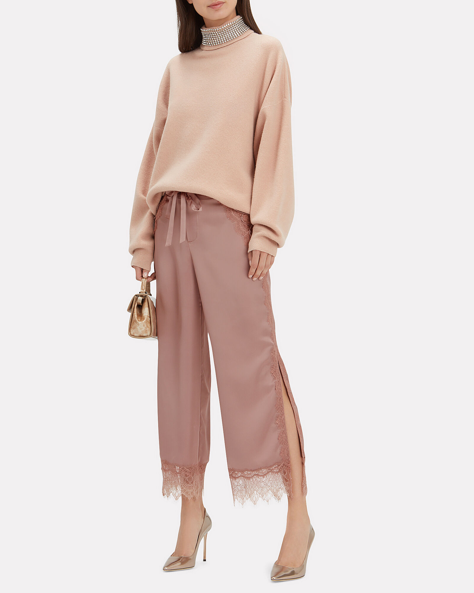 Lace Trim Pants, BLUSH, hi-res