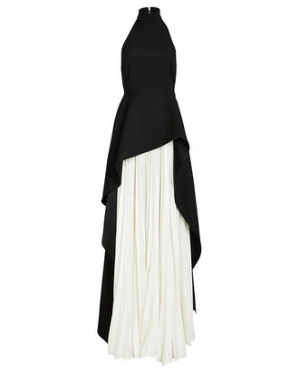 Lavinia Layered Halter Gown, BLACK/WHITE, hi-res