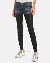 Skinny Leather Chap Jeans, FADED BLUE/BLACK, hi-res