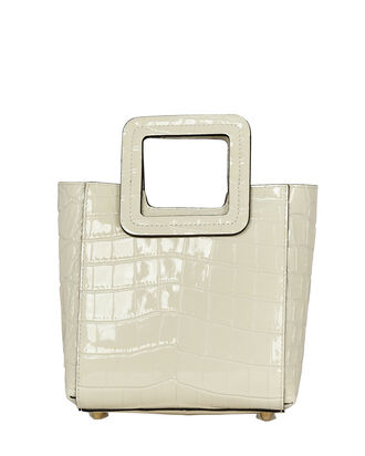 Mini Shirley Croc-Embossed Tote Bag, WHITE, hi-res